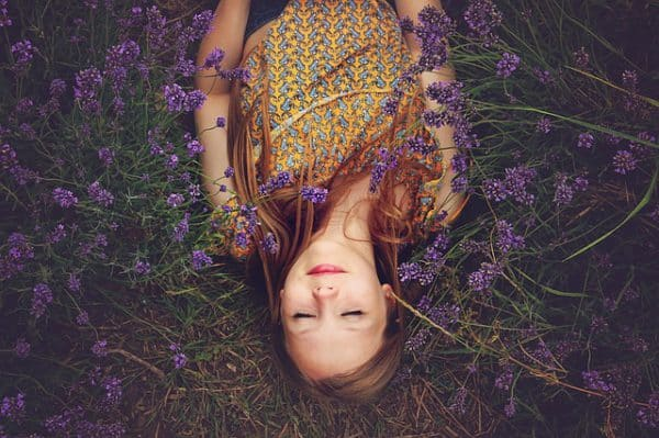 Girl and Lavender Flowers