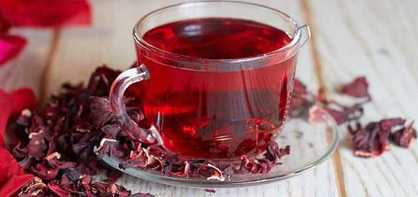 A cup of hibiscus tea
