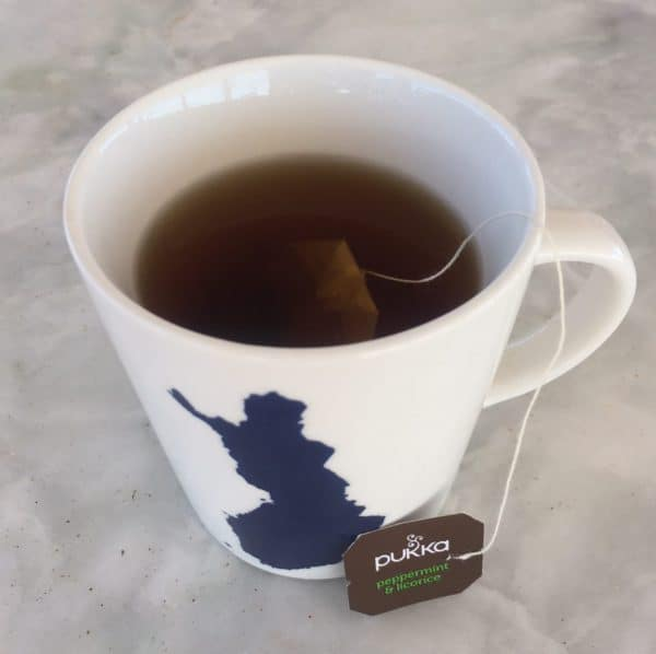 A cup of Pukka peppermint licorice tea